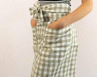 Linen Kitchen short apron with pockets Cafe Natural linen apron Canvas apron Table linens High quality linen Barista apron