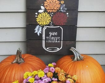 Give Thanks Mason Jar Fall sign, Rustic Decor, Fall decor, Fall fowers, House warming, Christmas gift, Mason Jar, Home decor, Fall Decor