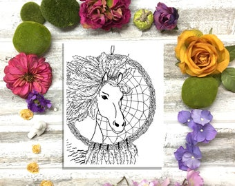 Color Your Own Dream Catcher Horse-Instant downloadable print-Calming, relaxing and healing art