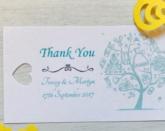 personalised wedding thank you tags (vintage wedding tree)