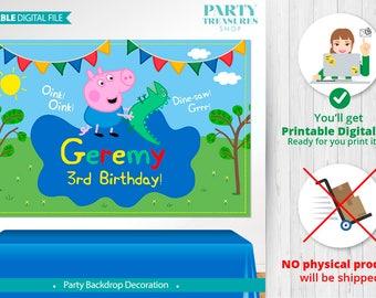 George Pig PRINTABLE Digital Backdrop, Peppa Pig Birthday Backdrop, Party, Peppa Pig Birthday Banner, Peppa Pig Poster, Party Banner, vA