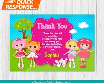 Lalaloopsy THANK YOU CARD, Lalaloopsy Birthday Thank You Card, Lalaloopsy Birthday Party, Lalaloopsy Party Thank You Card, vA