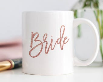 Pink Glitter Bride Mug, Wedding Coffee Cup, Pink Coffee Mug, Faux Glitter Coffee Cup, Wedding Coffee Mug, Wife Mug, Wifey Mug, Pink Wife Mug