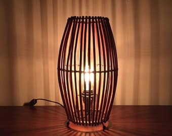 Vintage Bamboo Cage Lamp, Cool Shadow Lamp