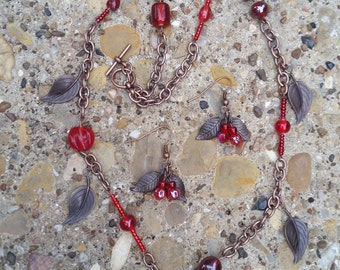 Red Beaded Antique Bronze Leaf Necklace and Earring Set