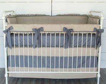 Oatmeal/Charcoal Linen Baby Bedding Set