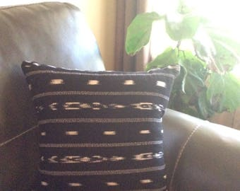 Guatemla Woven Ikat Black and White/ White  Pillow Cover