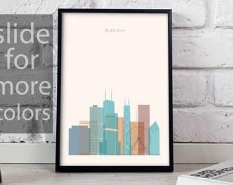 Chicago art Chicago print Chicago decor Chicago poster Chicago Skyline poster print Illinois poster Chicago wall art Gift poster