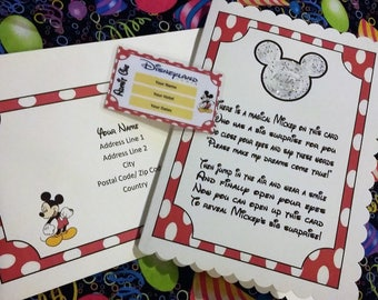 Disney Trip Reveal Card With Laminated Ticket Announcements Inside