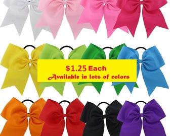 """Big Cheer Hair Bows 7"""" Ribbon w Ponytail 1 Dollar Each Girls Cheerleading Bow Blanks Design Your Own Custom Personalized Screen Printing"""