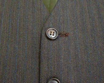 Vintage Brown HERRINGBONE Wool Vest sz 42 waistcoat WEDDING