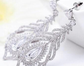 Bridal Dangle Earrings Wedding Earrings Feather Crystal Earrings Zirconia Feather Earrings Wedding Zirconia Earrings Silver Wedding Jewelry