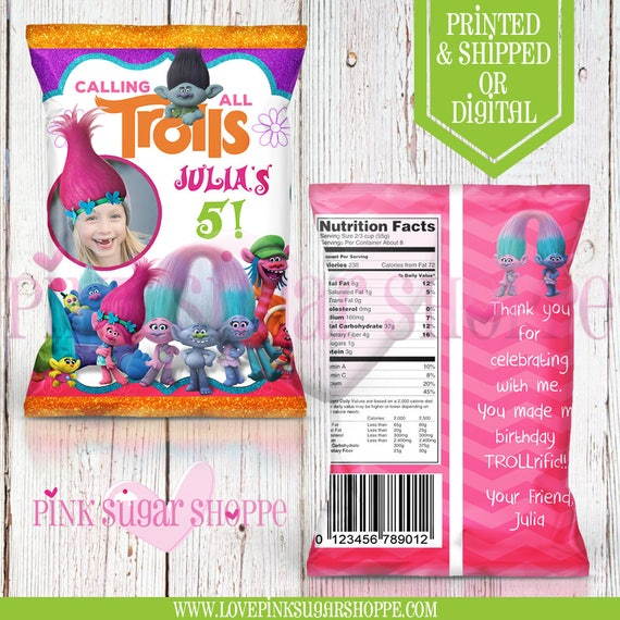 trolls favor bags w photo custom chip bags trolls birthday. Black Bedroom Furniture Sets. Home Design Ideas