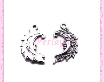Set of 15 REF1209X3 silver Moon charms
