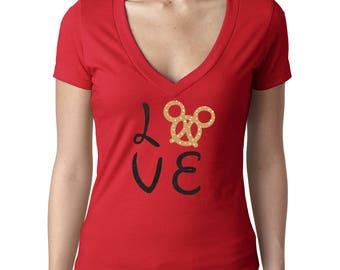 Mickey Pretzel Shirt - Disney Food Shirt - Disney Snack - Disney Ladies Shirts - Disney V Neck
