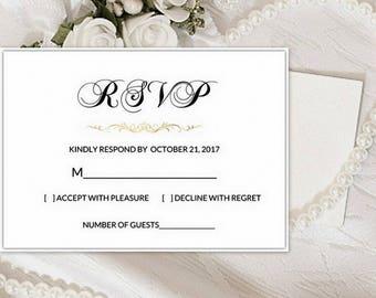 RSVP Cards Wedding, RSVP Card Template, rsvp Template, rsvp PDF, rsvp card downloaded, Printable rsvp, rsvp black and white