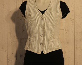 Vintage Ralph Lauren Pin Striped Denim Vest
