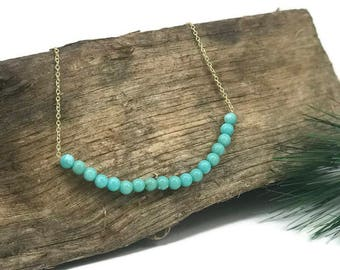 Turquoise Bar Necklace by WestMarketDesign | Gold Chain Necklace, Turquoise Beaded Princess Necklace | Bohemian Design Jewelry For Less