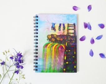 Cute gift for her  Art printed cover Sketchbook notebook Blank writing journal Clouds painting Handmade sketchbook Purple notebook