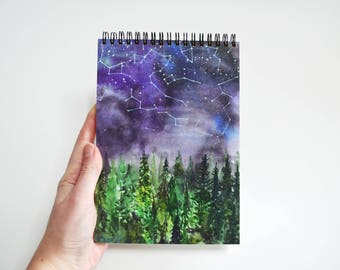 Blank notebook Unique gift for friend Writing journal Cute diary Forest book Art notepad Watercolor sketchbook Constellation painting