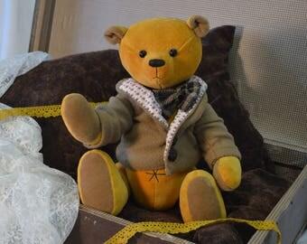 Teddy Bear, Toy Teddy Bear, Yellow Teddy Bear, Handmade Teddy Bear, Sewn Bear, OOAK Teddy, Teddy Bear Boy, Gift Teddy Bear, Raivo