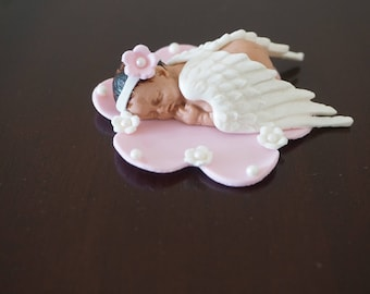 Fondant Baby with Wings, Sleeping Baby Cake Topper, Angel Baby Cake Topper