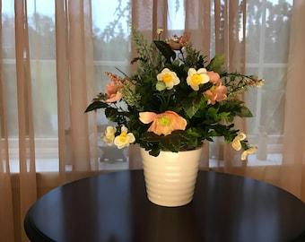 Medium Pink and Yellow Floral Arrangement, Silk Flowers & White Ribbed Elegant Ceramic Vase