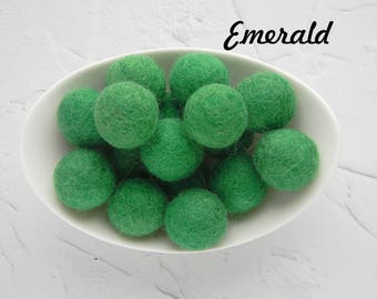 25 mm Emerald Felt Balls 2.5 cm Wool Felt Balls Wool Pom Poms Felted Balls Christmas Felt Balls DIY Necklace  DIY Garland  DIY Mobile