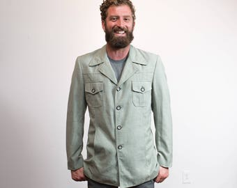 Vintage Mens Green Jacket / Soft Pastel Green Button up Medium Coat by Village Square