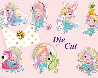 Mermaid Planner Die Cut, Cute Mermaid Fantasy Die Cuts, Flamingo Die Cut, Unicorn, Scrapbook Accessory, Paper Decor Party Decoration