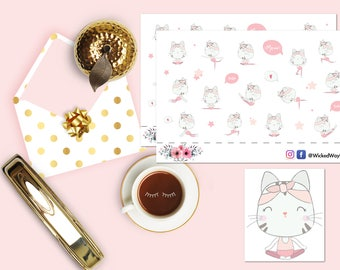 Kitty Yoga Planner Stickers, Kitty Cat Exercise Sticker, Cute Yoga Time Sticker, Scrapbook Stickers, Planner Stationary Accessories
