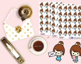 Cute Happy Mail Girl Planner Stickers, Cute Planner Girl Sticker, Kawaii Girl,  Planner Sticker, Scrapbook Sticker, Planner Accessories