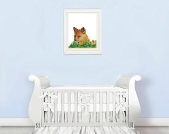 fox nursery decal, fox nursery wall decal ,fox nursery wall art , nursery art fox, fox nursery decor, fox nursery print, nursery prints