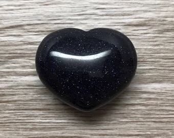 Blue Goldstone Heart Crystal | Worry Stone | Palm Stone 32mm #H12