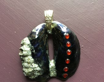 Mussel shell, silvered barnacle and red bead Pendant