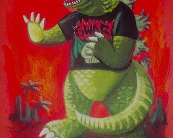 El Gato Gomez Kaiju Godzilla Retro Gwar Punk Rock Monster Art Print