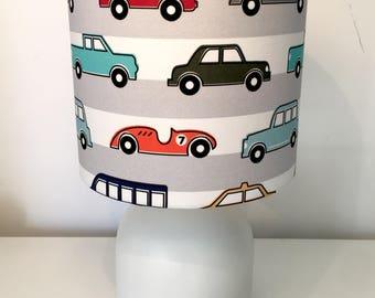 Cars and trucks kids bedroom lamp shade kids decor fabric lampshad nursery stripe Handmade in Western Australia