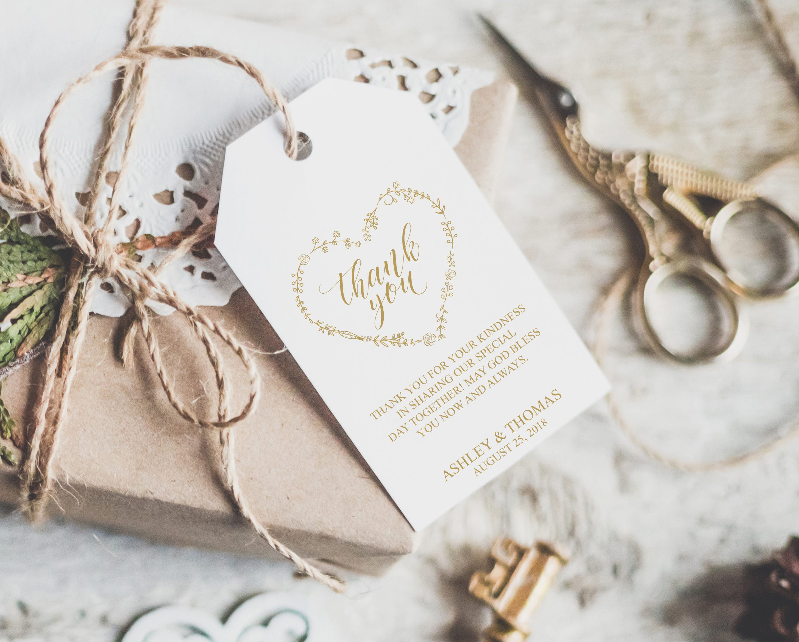 Gold Wedding Tags, Gift Bags Tags, Printable Gold Foil Favor Tags ...