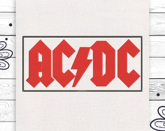 ACDC Rock Discount 10% Digital machine embroidery design 4 sizes INSTANT DOWNLOAD EE5028
