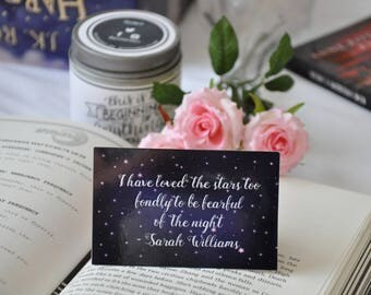 Literary bookmark, Bookish bookmark, Bookmari with quote, Bookish postcard, Postcard, Galaxy, Stars, Bookmark with stars, Bibliophile