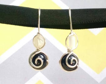 Deep Violet Natural Agate and Trocha Shell Hand-Crafted Silver Plated Earrings