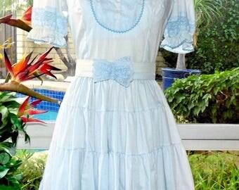 70's Vintage Kate Schorer Western Prairie Square Dancing Lace Ruffle Twirl Dress