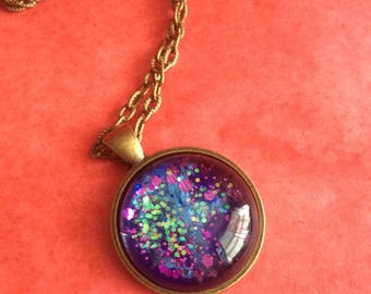 Galaxy space stars cabochon necklace