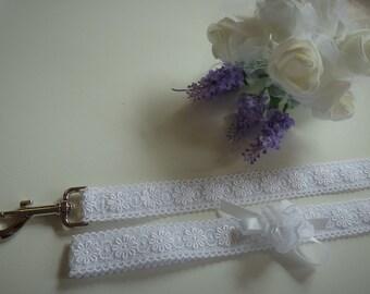 Heavenly White Lace Wedding Dog Leash