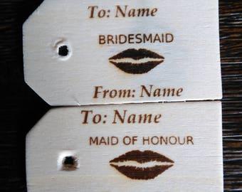 Wood Bridesmaid Gift Tags/Wedding/Wood Gift for Bridesmaid
