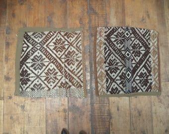 Pair of vintage textile cushions, peruvian frazada cushions, throw pillows