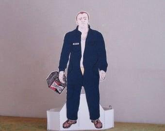 British Men Garage Man Paper Doll