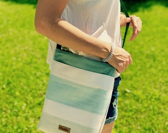 Green-White shoulder bag