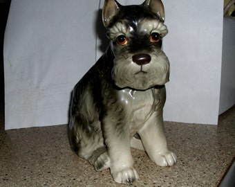 1950s RELPO Schnauzer Planter, 1895 Humanlike Eyes. Made in Japan