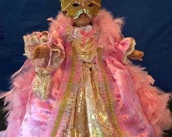 18 inch doll ball gown ensemble, pink brocade, 17th century, 8 pieces
